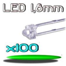 360/100# LED verte 1,8mm 100pcs --- 8000mcd