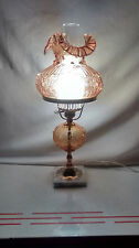 """Vintage Fenton 19"""" Colonial Amber Rose Student  Lamp w/marble base."""