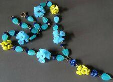yellow Czech glass flower bead necklace -D399 art deco 30s style aqua navy blue
