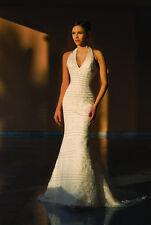New Beautiful Authentic White Beaded Demetrios Wedding Reception Dress