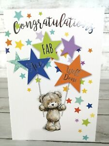 Congratulations Card, Fab Ace Well Done, Cute Bear With Stars