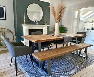 Industrial Scaffold Board DINING TABLE & BENCH Trapezium Steel Legs Reclaimed