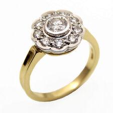 Diamond ring 18ct gold daisy 0.80 ct diamants