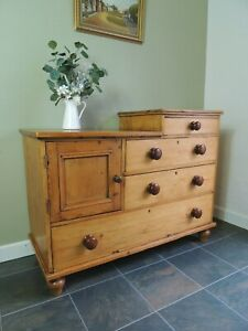 Lovely Unusual Large Antique Solid Pine Drawers Cupboard Sideboard