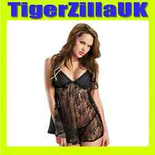 Babydoll Sexy Black Lingerie Hot Lace Underwear Womens One Size fits UK 8-12