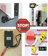 6 item Protection Kit Self Defense Safety Security Stun Gun Pepper Spray Alarm+