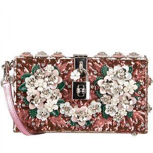DOLCE & GABBANA Glitter Plexiglass Flowers Clutch Bag DOLCE BOX Pink 09696