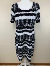 Honey & Lace 2XL Black White Watercolor Stripe Auburn Dress Stretchy