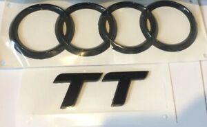 Audi TT Black Gloss Rare Boot Ring Logo & TT Badge Set 178*58mm High Quality