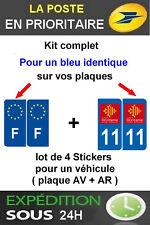 4 STICKERS LOGO REGION + F PLAQUE IMMATRICULATION DEPARTEMENT 11 OCCITANIE