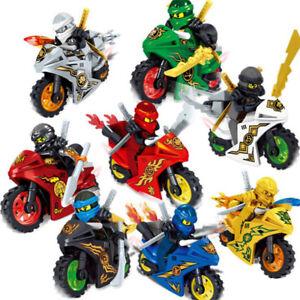 Ninjago Motorcycle Set Minifigures Ninja Mini Figures Fits Leg0 Blocks Toys 8Stk