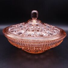 Vintage FEDERAL GLASS Windsor Pink Candy Dish with Lid