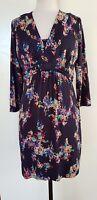 BODEN Navy/Bright Coloured Stretch Knit Dress Size 14