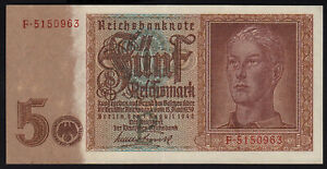 1942 5 Reichsmark Germany Nazi WWII Hitler Youth 3rd Reich Swastika Banknote XF