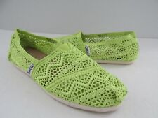 Toms Womens Size 5.5 Lime Green Crochet Slip-On Shoes
