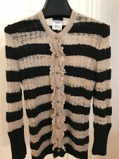 Chanel Runway Black and Creme Stripe Cashmere Cardigan Size 36