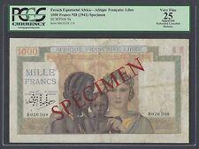 French Equatorial Africa - Afrique Francais Libre 1000 Francs L1941 Specimen P9s