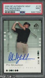 2002 SP Authentic Golf #110 Phil Mickleson AUTO /799 PSA 9 MINT