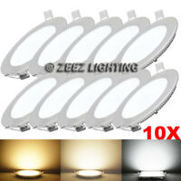 """10X 6W 4"""" Round Cool White LED Recessed Ceiling Panel Lights Bulb Lamp Fixture"""