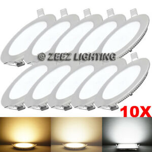 "10X 6W 4"" Round Cool White LED Recessed Ceiling Panel Lights Bulb Lamp Fixture"
