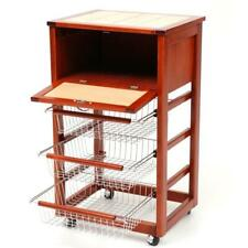 Trolley Bread Box Cooking Wood Cherry Tree with Drawer 3 Baskets Steel