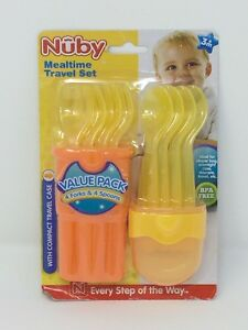 Nuby 9-Piece Fork and Spoon Travel Set Compact Case - Yellow/Orange