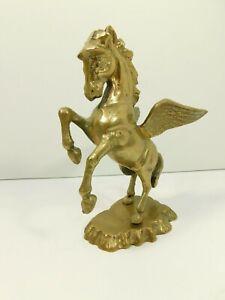 "Brass Vintage Pegasus Flying Winged Mythological Horse Heavy 7.5"" tall"