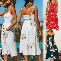 UK Womens Sun Beach Summer Cold Shoulder Floral Ladies Jumper Holiday Midi Dress