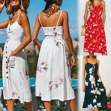 UK Womens Sun Beach Summer Cold Shoulder Floral Ladies Jumper Holiday Midi Dress