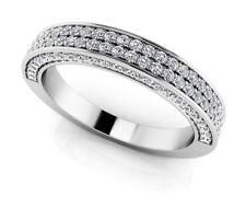 NEW LADIES 14k WHITE GOLD DIAMOND ROUND DOUBLE ROW WEDDING RING BAND