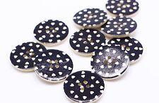 Black Heart Wooden Button Large Four Holes Polka Dot Coat Round DIY 30mm 100pcs
