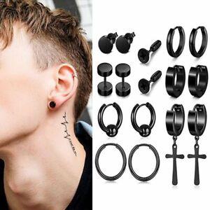 Stainless Steel Punk Men Black Earrings Stud Hoop Drop Dangle Gothic Piercing