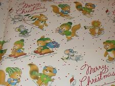 VTG MERRY CHRISTMAS WRAPPING PAPER GIFT WRAP MOUSE BUNNY SQUIRREL NATURE SLED