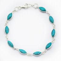 Türkis Armband Silber 925 Sterlingsilber Tennisarmband Handschmuck Armkette ts