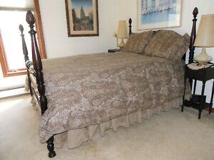 4 piece ~ QUEEN 100% Cotton BROWN Paisley Print Duvet Cover & 2 Shams & Bedskirt