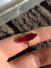 Vintage 14K Created Ruby Marquise Ring
