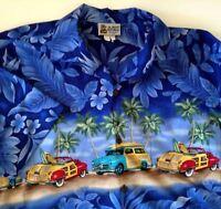 Aloha Republic Hawaiian Aloha Shirt Woodys, Surf Boards, Palms Flowers Large