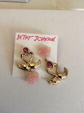 Betsey Johnson Gold-Tone Swan Love Birds & Rose Mismatch  Earrings $35 #65*