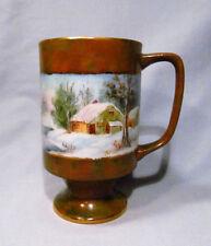 Hand Painted 1981 Signed Porcelain Winter Snow Cabin Scene Ceramic Mug Cup