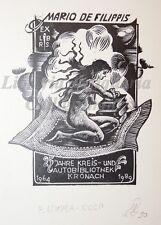 EROTICA - Ex-Libris Originale Firmato RUSSIA Kronach Donna Tappeto Volante Libri