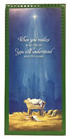 "Box Of 20 Christmas Greeting Cards/Envelopes Nativity Scene & Star 4""x 9.25"""