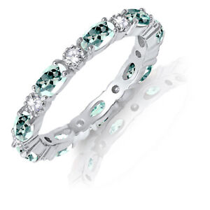 Oval Aquamarine CZ Eternity Stackable and Round Clear CZ Genuine Silver Ring