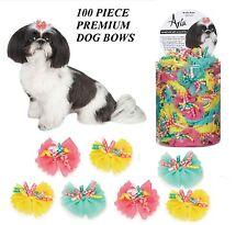 100 pc Premium DOG Satin&Grosgrain Ribbon PRETTY CURLY BOWS w/Band HAIR*Top Knot