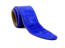 "Blue Real Suede Leather 2.5"" Extra Wide Soft Acoustic Electric Bass Guitar Strap"