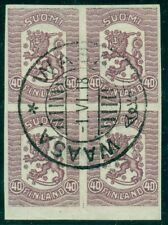 FINLAND #114v 40pen Vasa, IMPERF BLOCK of 4, used w/1918 town cancel, VF