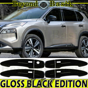 For 2021 Nissan Rogue GLOSS BLACK Door Handle COVERS W/4 SMART Keyholes