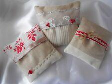 3 mini coussins déhoussables Esprit de Noël - Coll. Hiver Beige Blanc Rouge