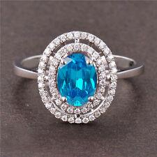 585er WeißGold 1,85Kt Natürlicher Blauer Topas EGL Zertifizierter Diamant ring