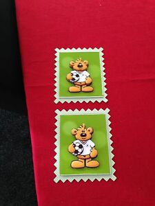 2 x Decoupage Pictures of Football Bear Theme Toppers