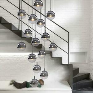 Glass Globe Chandelier Staircase Fixture Ceiling Light LED Plated Pendant Lamps